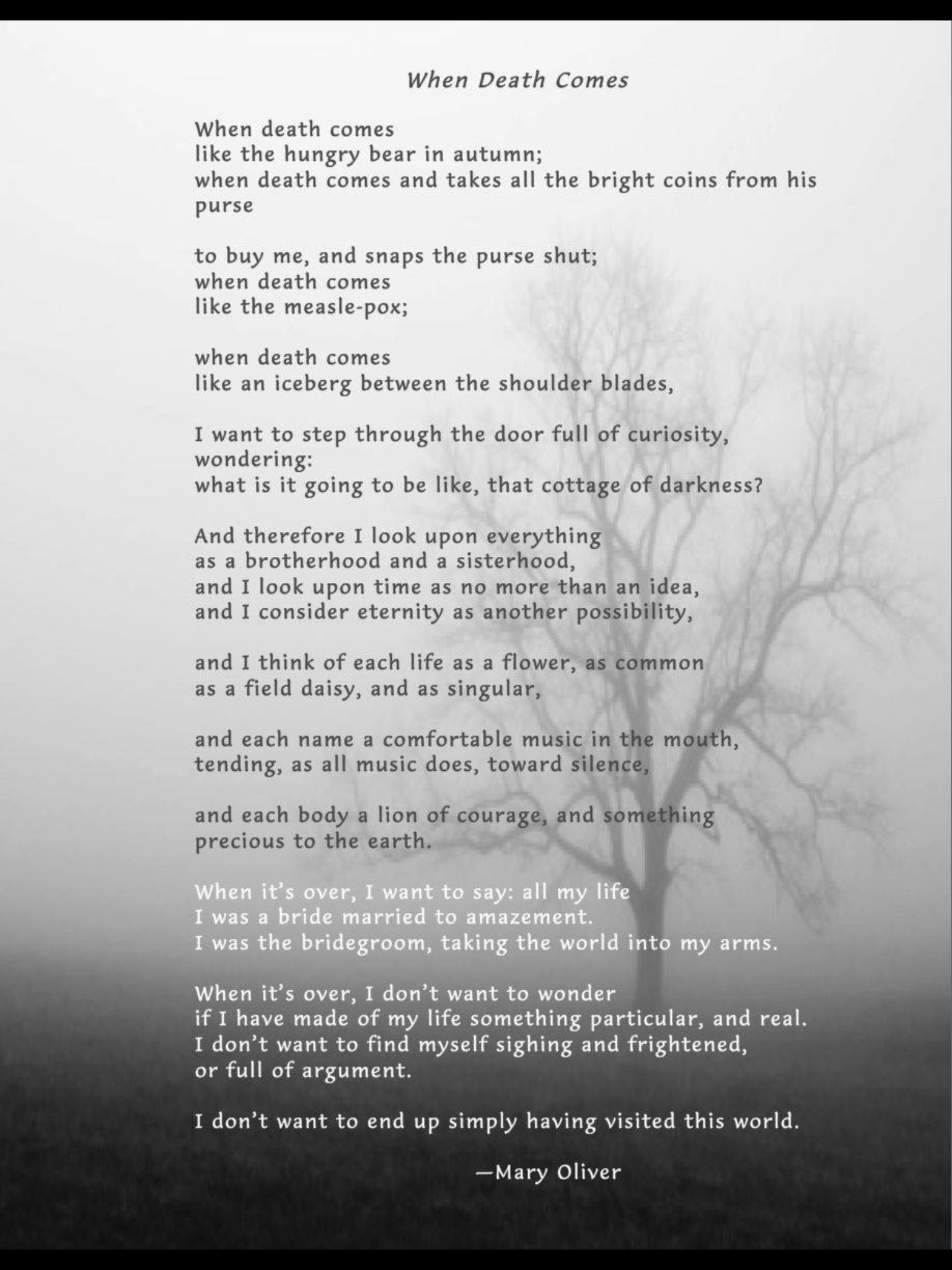 inevitable death comes mary oliver Contemporary poets » mary oliver » mary oliver poems » when death comes  when death comes and takes all the bright coins from his purse to buy me,.